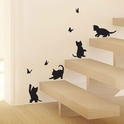 4PCS Cute Cats Play with Butterfly Children Room Wall Stickers Furnishings Wall Decal Kids Room Cartoon Decoration Glass Sticker US $7.08