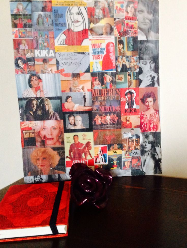 Almodovar movies collage on canvas and decorative clay-made rose.