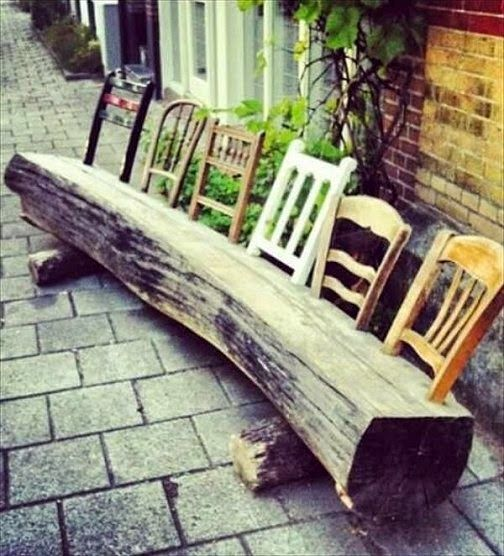 Dishfunctional Designs: The Upcycled Garden - Spring 2015 - cool rustic outdoor garden bench from a log and upcycled chair parts
