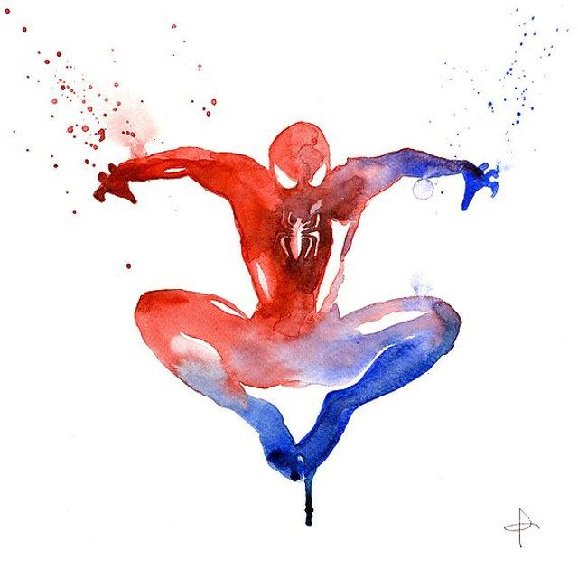 Well, They're No Fingerpaintings: Superhero Watercolors - Spiderman