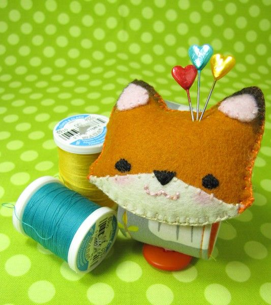 cute pin cushion felt fox #fox