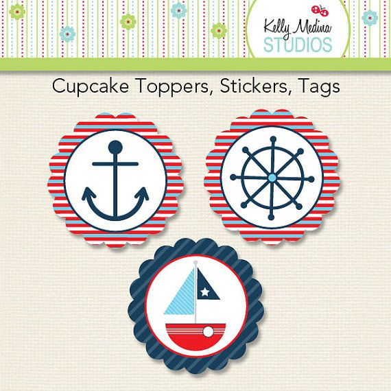 Nautical Sailboat - 2 inch Circle Digital Printable Sheet - Commercial use for Printed Cupcake Toppers, Paper Crafts and Products $2.99