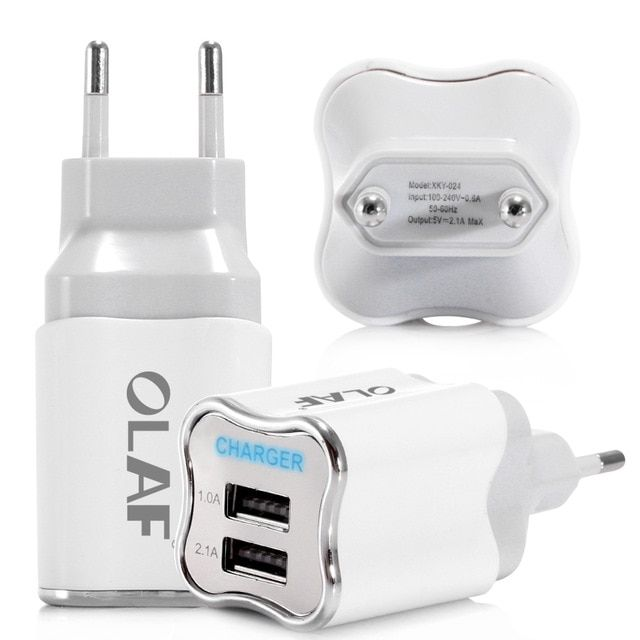 Olaf Dual Usb Phone Charger Eu Us Plug Led Light 5v 2 1a Fast Charging Adapter For Iphone X Samsung Xiaomi Mobile Dual Usb Charger Adapter Portable Usb Charger
