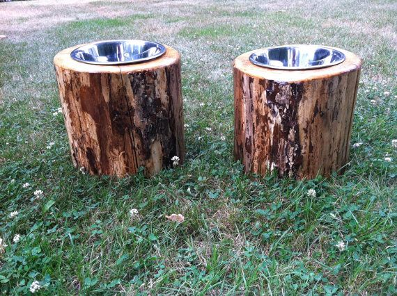 log dog feeders raised by on etsy