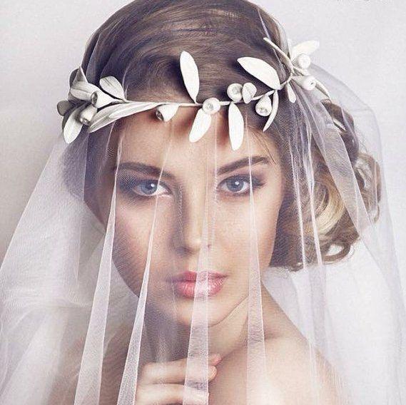 Greek leaf crown, bridal crown, wedding crown, bridal tiara, wedding leaf crown…