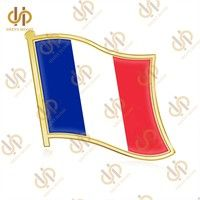 Wish | France National Flag Waving Metal Lapel Pin Badge Men Broches Emblem Country State Pins (Size: 1.9cm by 2.1cm, Color: Gold)
