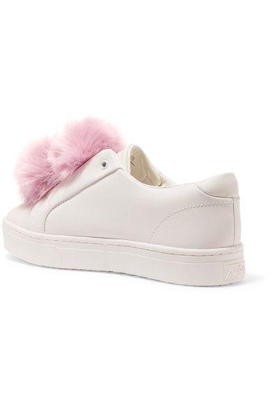 Sam Edelman - Leya Faux Fur-trimmed Leather Slip-on Sneakers - White - US
