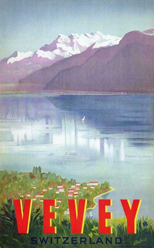 Vintage Travel Poster - Vevey  - Canton de Vaud - Switzerland -by Charles Aubert - 1961.