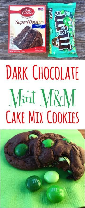 Dark Chocolate Mint M&M Cake Mix Cookies Recipe!  Just 4 ingredients!! | NeverEndingJourneys.com