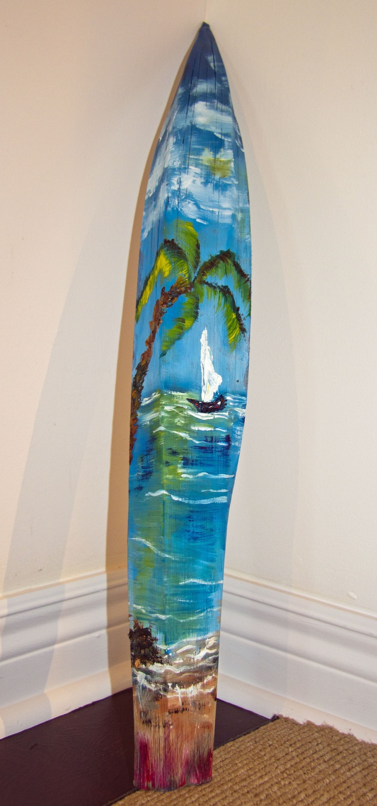 One of a kind oil painting on coconut bark. Must ask for one, it's beautiful.