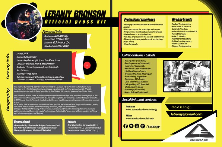 Press kit dj extended press kit dj pinterest press kits for Band epk template