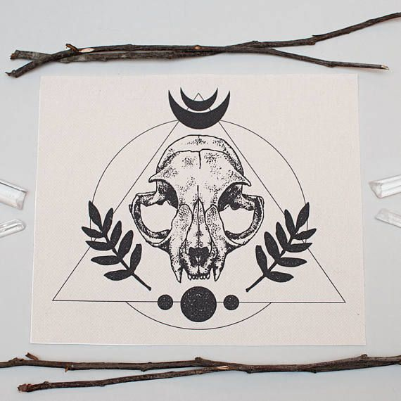 Large Patch Sew On  Cat Skull Occult Moon