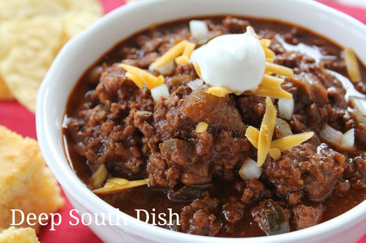 A nice, thick, highly seasoned, no beans, ground beef chili.