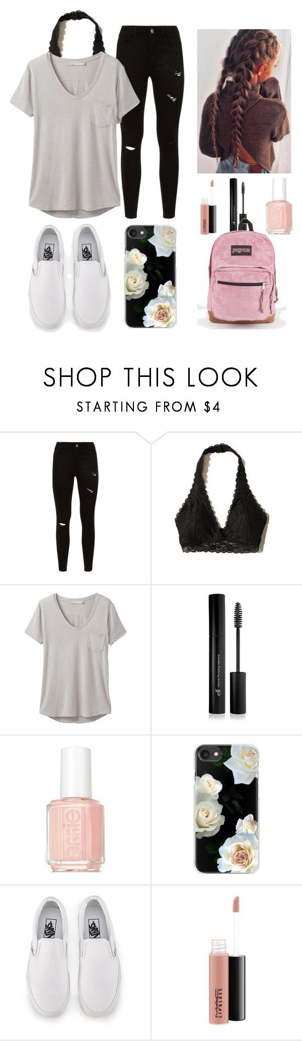 """Back to school set #1"" by ava83lewis on Polyvore featuring Hollister Co., prAna, Forever 21, Essie, Casetify, Vans, MAC Cosmetics and JanSport"