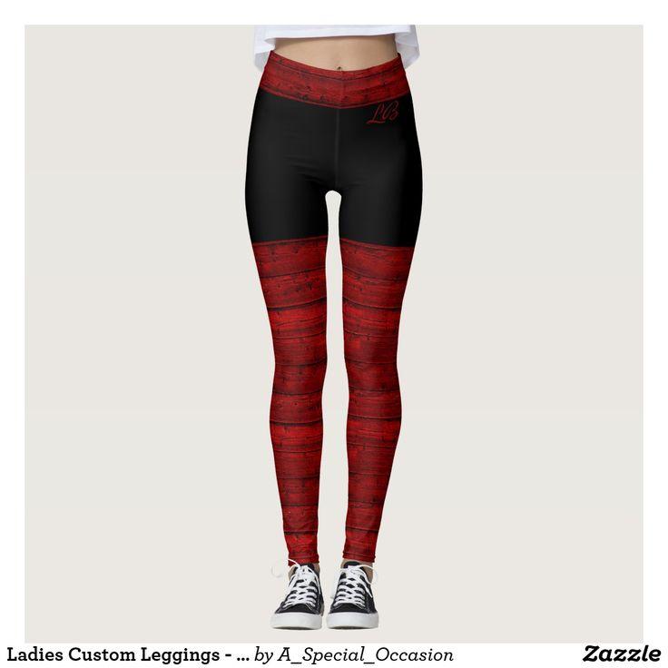 Ladies Custom Leggings - Red Black Design