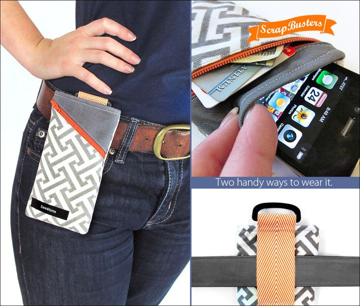 Handy Slip-on or Clip-on Belt Pouch   Sew4Home