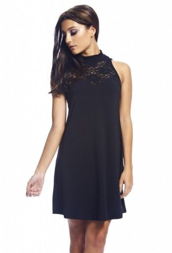 Lace Neck Swing Dress