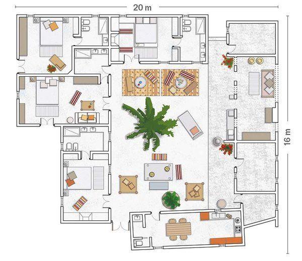 Plano con patio interior planos de casas peque as - Planos de casas con patio interior ...