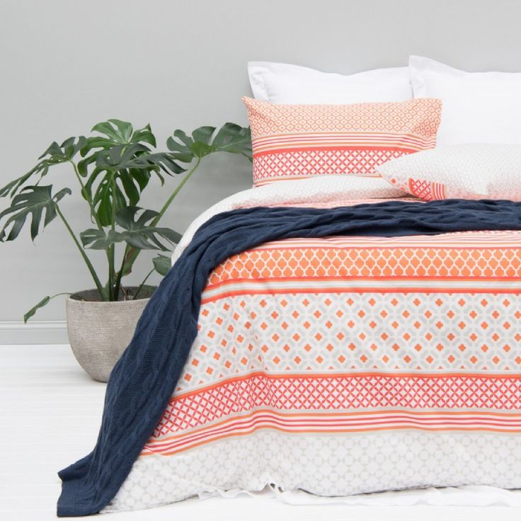 Good Morning sunshine! The Aviana Quilt Cover set has arrived. Featuring a palm springs inspired  geometric design in a sunset orange, offset by a soft beige & white background. Online & in-store now!