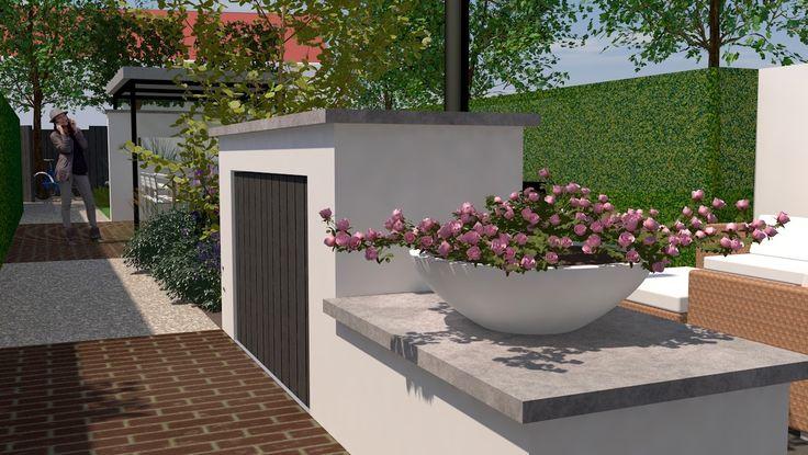 Leuke achtertuin in Eindhoven met diverse zitplaatsen. Veranda midden in de tuin geplaatst om in het interieur maximaal licht te behouden. Berging in metselwerk met aan de aan de andere kant een open haard.