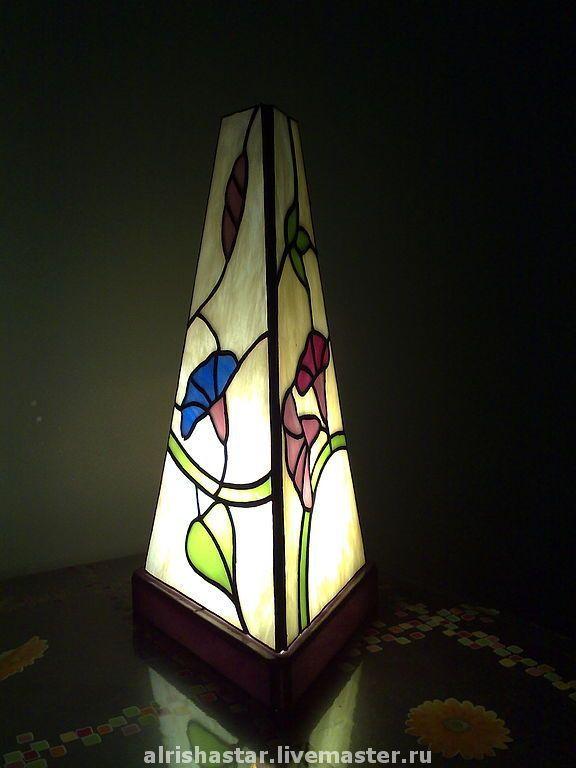 Купить настольная лампа КОЛОКОЛЬЧИКИ - настольная лампа, лампа, витражная лампа, треугольный, колокольчик, колокольчики