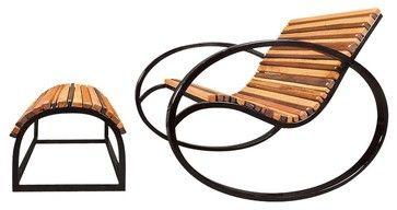 Shiner Pant Rocker, Black, Pine - industrial - Rocking Chairs - Edgewood Ave