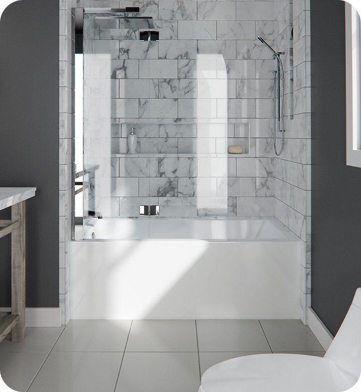 """Neptune Entrepreneur E10.21212.4000.10 ALBA3260 Albana AFR 59 3/4"""" White Alcove Rectangular Bathtub with Integrated Tiling Flange & Right Drain"""