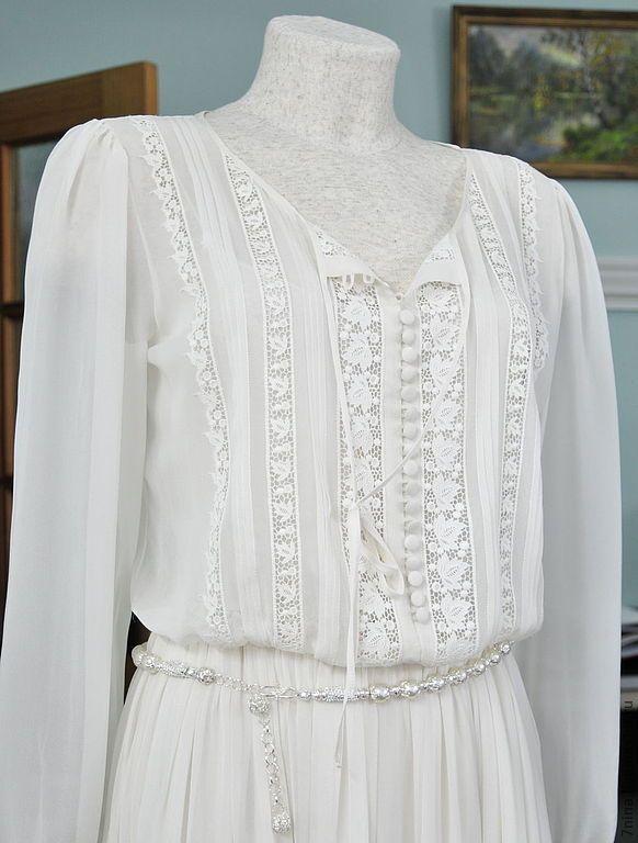 Купить Шифоновое платье с кружевом - белый, выпускное платье, шелковое платье, кружева, тимченко нина