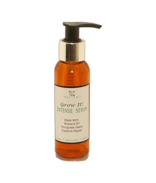 TLC Naturals Grow It hair growth Intense serum.  made with indian mustard oil, fenugreek seeds, cayenne and more.   Perfect for those serious about getting longer/thicker hair.  ideal for stimulating new growth, reactivating redundant hair follicles, thickening the hair; treating balding, hair loss, alopecia,  split ends and other hair problems. Over 95% of  users report seeing visible new growth and thickness  in about 1 week #naturalhair #hairloss #hairgrowth #tlcnaturals #growit…
