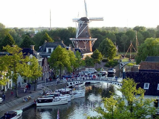 Windmill in the historic city center of Dokkum, Friesland, Holland.