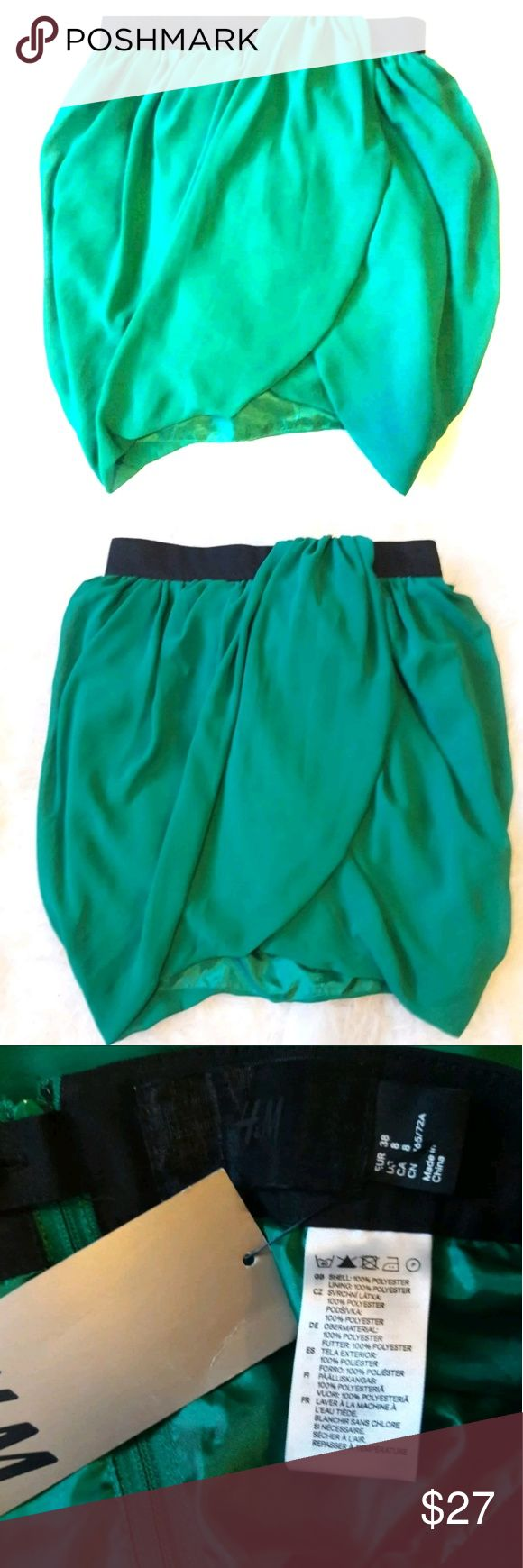 H&M Emerald Green Holiday Skirt Beautiful Emerald Green   Nice sarong detail   Perfect with a pair of thick stockings and booties H&M Skirts Pencil