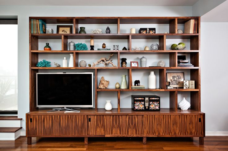 Custom Built-in Entertainment Center w/Shelving for Williamsburg Apartment by Anne Chessin Designs | www.shimna.net