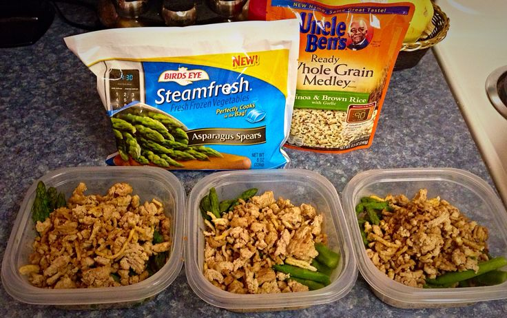 Advocare on a budget! Easy meal prep for clean eating! Vegetable, Complex Carb, and Protein. Vegetable - frozen steam fresh asparagus (or vegetable of your choice). Complex Carb - whole grain rice and quinoa medley. Protein - your choice! Lean ground beef, turkey meat, or chicken. (remember to stay within portion sizes) Enjoy!
