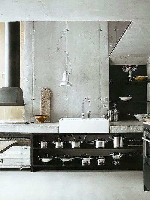 kitchen inspiration - concrete, black open shelves, farmhouse sink /