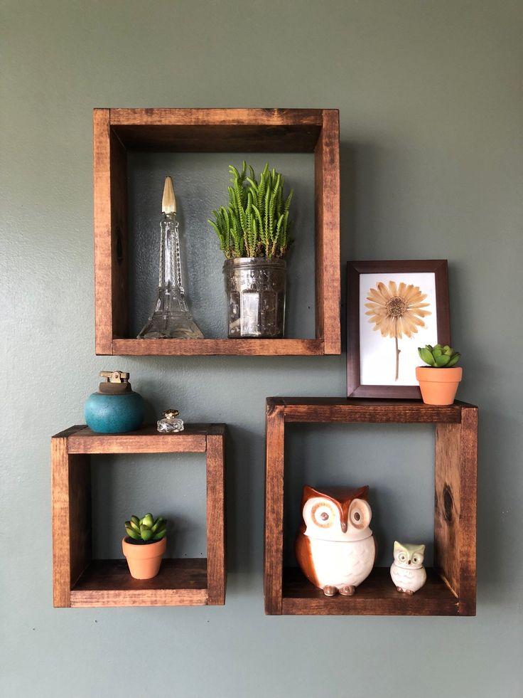 Square Shelves | Square Wood Shelves | Rustic Home Decor | Farmhouse Decor | SET OF THREE | Wall Decor | Succulent Shelf | Square Shelf