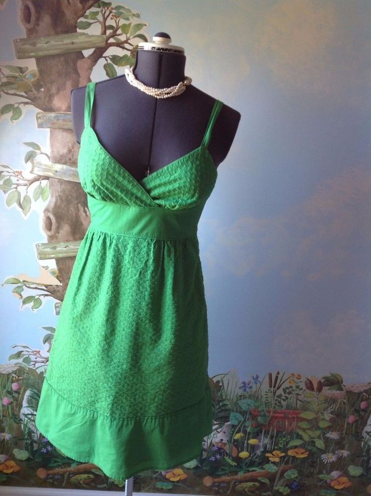 A.N.A.  Dress Women Green Cotton Embroidered Spaghetti Strap  Dress Size 8   #ana #Casual