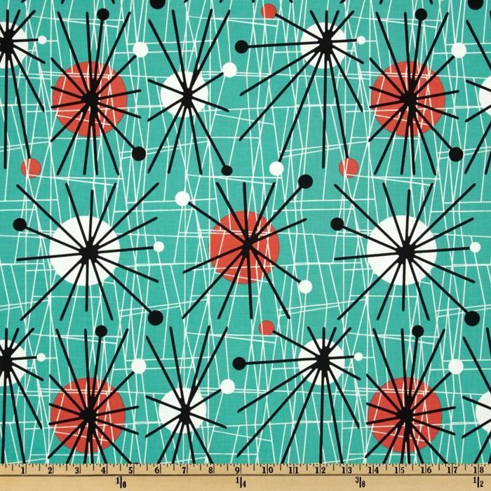 Bring on the Jetsons! Michael Miller Mid-Century Modern Atomic Turquoise from @fabricdotcom  Designed for Michael Miller Fabrics, this cotton print features an abstract design. Colors include white, black and orange on a turquoise background. Use for quilting and craft projects as well as apparel and home décor accents.