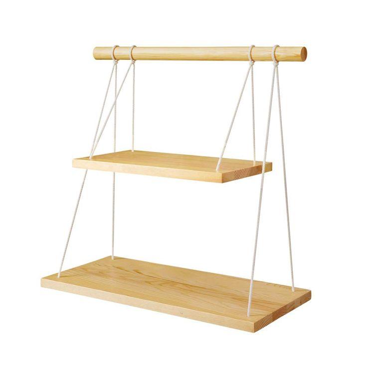 Mkono Wall Hanging Shelf Wood Floating Shelves Storage Display Swing Rope Organizer