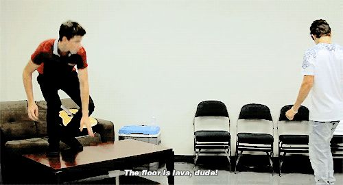 """""""Austin the floor is lava""""! """"What are you crazy shawn""""! Lol best video<<< Basically me and my friends relationship"""