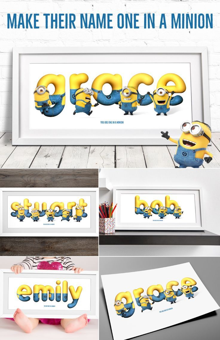 Make your name ONE IN A MINION with our Minions Framed Name Art! Personalised Minion Name / Minion Gift / Minion Name Art / Nursery Wall Art / Name Sign / Childrens Plaque / Baby Room Decor / Name Art
