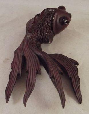 Vtg Carved Rosewood Wood Japanese Koi Fish Figure Figurine