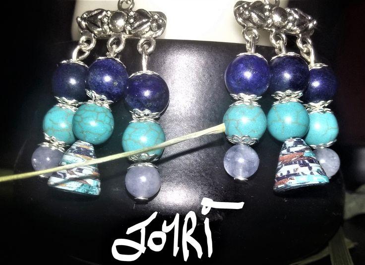 """Voici ce que je viens d'ajouter dans ma boutique #etsy : boucles d'oreilles """"ISIS"""" en pierres semi-précieuses et perle de papier. http://etsy.me/2FgNUvQ #bijoux #bouclesdoreilles #bleu #boheme #crochetdoreille #pierre #non #filles #marin"""