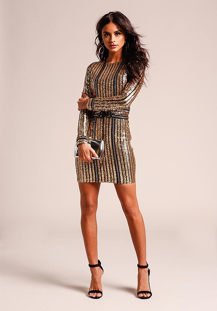 ec301a736181a Gold Sequin & Chain Bodycon Dress with Corset Belt - Bodycon - Dresses