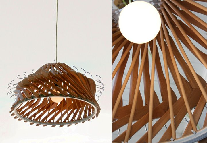 Chandelier made out of hangers - Hangelier, wooden hangers turned into a design lighting, would look great for #retaildesign