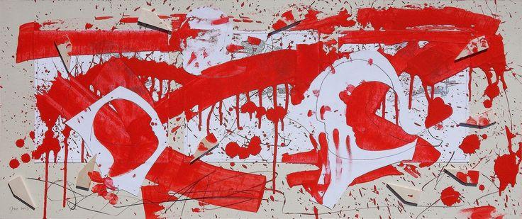 """andrea mattiello """"Corsa interrotta dall'esplosione di un cuore volante"""" acrilico, grafite e collage su cartone vegetale cm 83x35; 2013 #andreamattiello #arte #artecontemporanea #art #contemporaryart #artistaemergente #emergingartist #artforsale #livinart"""