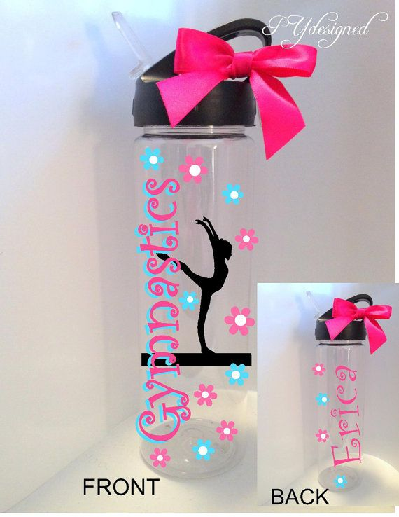 Gymnastics Water Bottle Personalized Custom Gymnast by PYdesigned