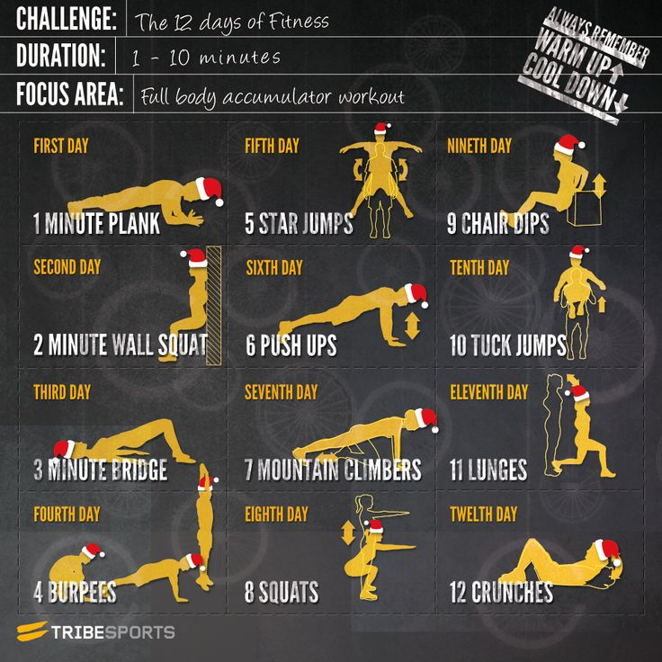 12 Days of Fitness. An accumulating circuit. Start on day one with a one-minute plank, and add on a new exercise each day until you finish on day 12 by performing all 12 moves.