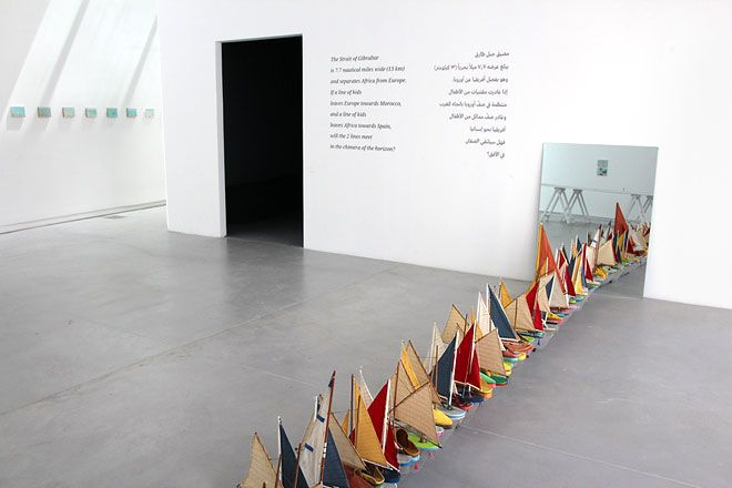 Francis Alÿs, Don't Cross the Bridge Before You Get to the River. 2008  Videos, paintings, drawings, sculpture and photographic installation.