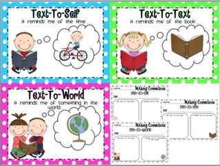 """http://livelovelaughkindergarten.blogspot.com/2012/04/tax-break-sale.html    A set of """"Making Connections"""" posters. We refer back to these often. There are also response sheets that you could do with your class, in Literacy Work Stations, or during small group instruction."""
