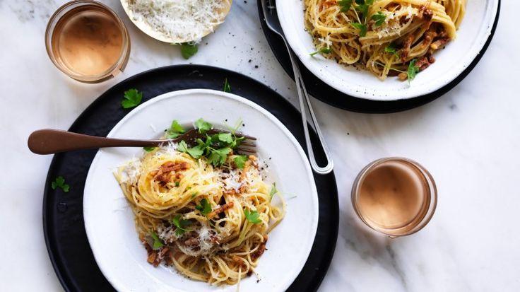 "Adam shares his recipe for ""real"" pasta carbonara (keep it simple!)"